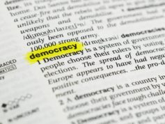 """Detail of the english word """"democracy""""  highlighted and its definition from the dictionary"""